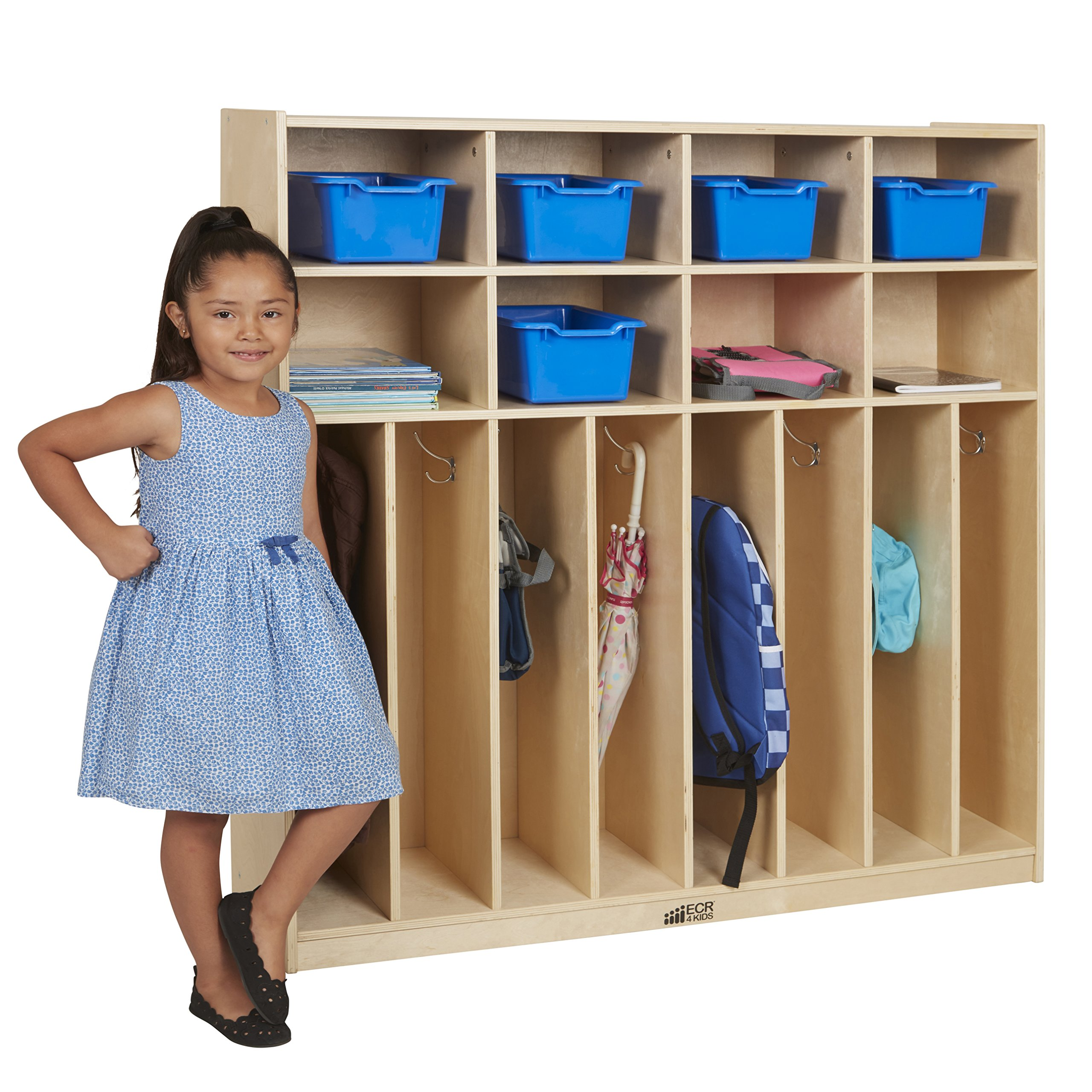 ECR4Kids Birch 8-Section Slim-Fit School Coat Locker with Hooks and Storage for Kids, 48'' Wide by ECR4Kids