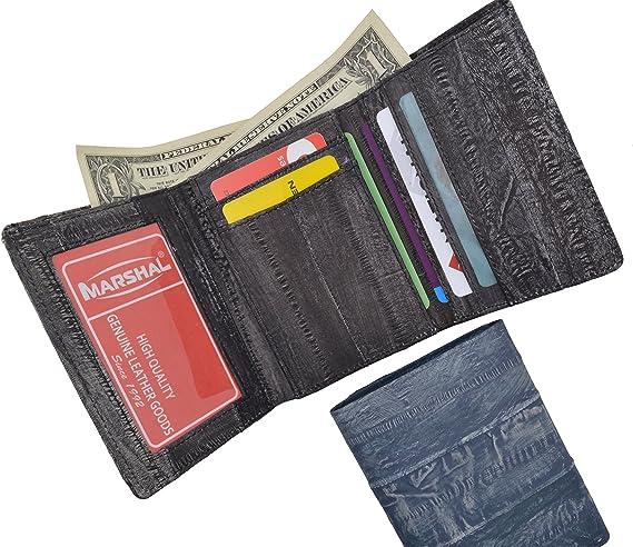 Men/'s Eel Skin Leather Credit//ID Card Holder Bifold Wallet Slim Purse Black Gift