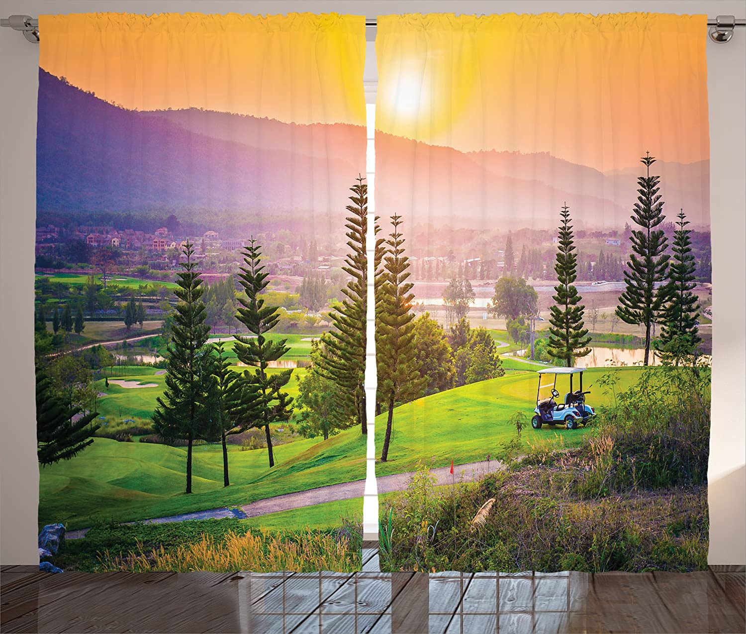 Ambesonne Farm House Decor Curtains, Vibrant Golf Resort Park in Spring Season with Trees Sunset Hills and Valley, Living Room Bedroom Window Drapes 2 Panel Set, 108 W X 84 L Inches, Multi