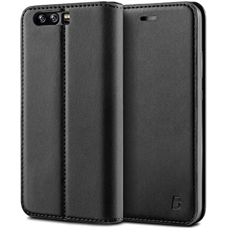 best website 7f00b 4abfd BEZ Case for Huawei P10 Case Protective PU Leather Wallet Flip Cover  Compatible with Huawei P10 with Card Holders, Kick Stand, Magnetic Closure,  Black