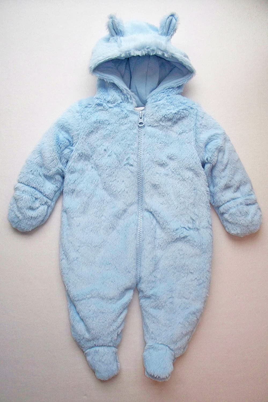 78d443dc9 Baby boys blue soft fluffy Pitter Patter snowsuit pramsuit (6-9 ...