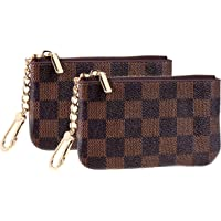 Rita Messi Luxury Checkered Zip Coin Pouch Purse Change Holder Wallet with Key Chain 2 pcs Set