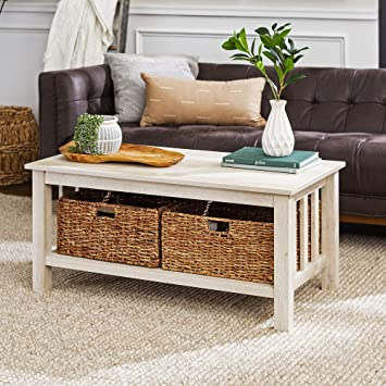 Amazon Com Walker Edison Alayna Mission Style Two Tier Coffee Table With Rattan Storage Baskets 40 Inch White Furniture Decor