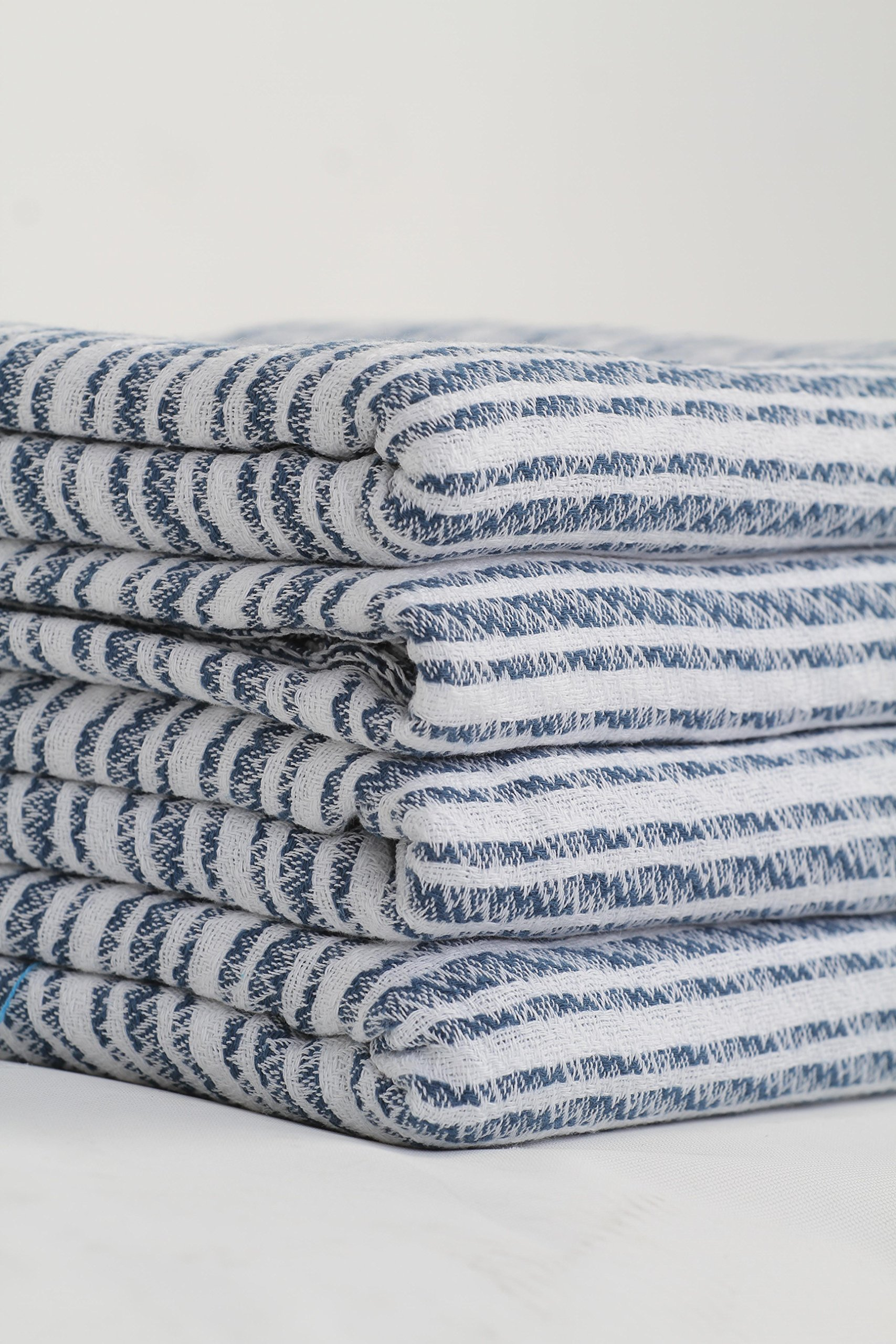 Sualla 100% Cotton - Istanbul Turkish Towel - Bath Fouta Beach Blanket - Handloom Peshtemal - 34X69 Inches, Dark Blue (Set of 4) - Lightweight and compact: Less storage room than the space of a traditional plush towel in the linen closet or bag. Pack our pestemal for bathroom, pool, spa, sauna, hammam, massage table, gym, sports, fitness, yoga, travel, camping, picnic Super Versatile: Use as sarong, shawl, pareo, scarf, wrap. Decorative purposes at home or kitchen as table cloth, couch, sofa, chair throw or bed cover. Choose a color or pattern that matches your living room decor Absorbent and quick dry: Our flat woven pestemal is fast drying by air or washer dryer. Put the towel set in a basket for guests to use at your beach house for the shower instead of heavy towels. Make sets of 4, 6 with hand towels or washcloths - bathroom-linens, bathroom, bath-towels - 918 LCEDvtL -