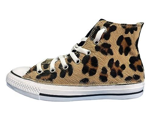 Converse All Star con applicazione di tessuto leopardato e velluto nero 172