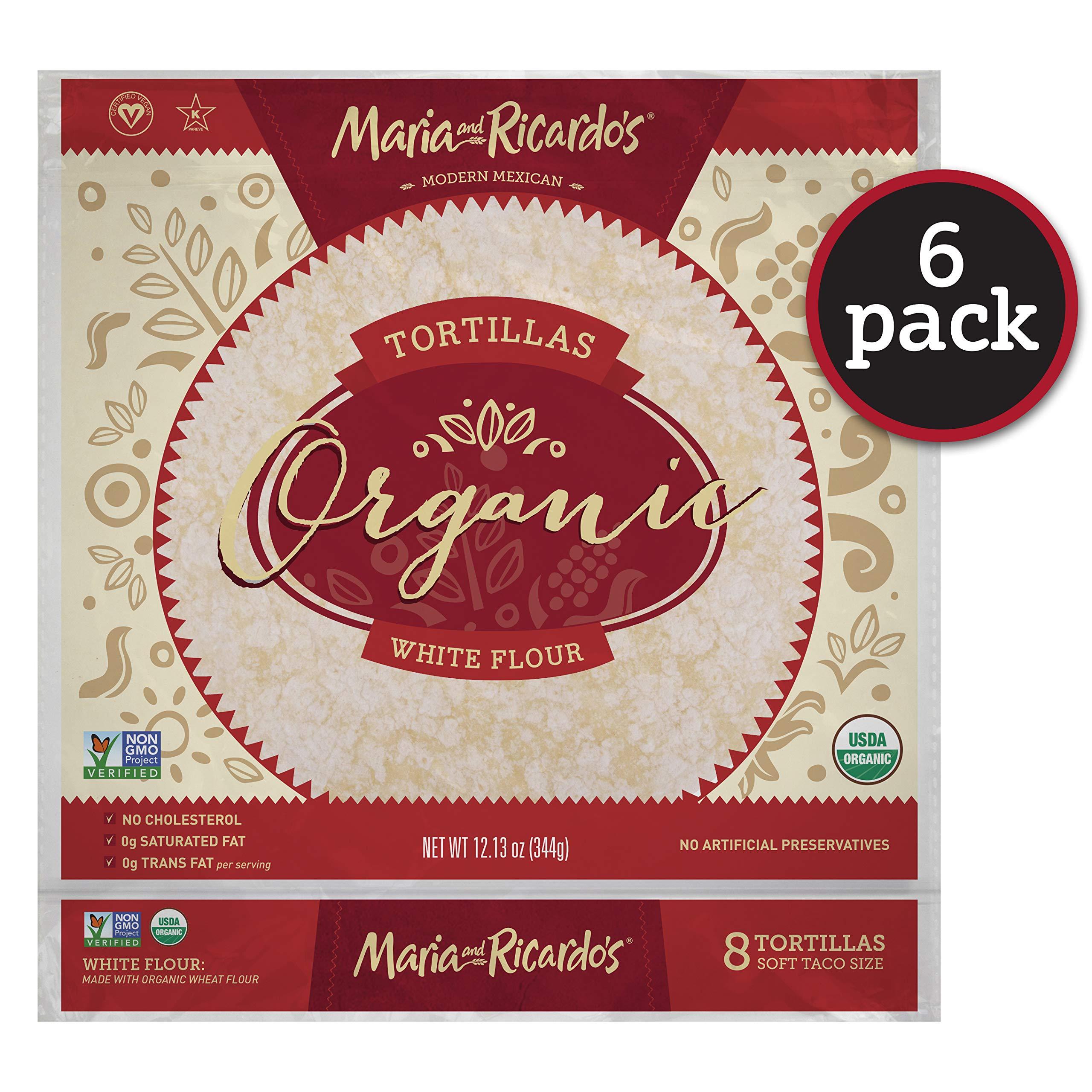 Maria & Ricardo's Organic White Flour Tortillas. (6 Pack) USDA Certified Organic, Non GMO PV, Vegan, Kosher. 8 Tortillas per Pack