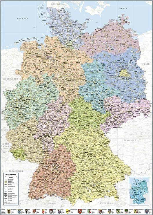 Close Up Politische Landkarte Deutschland 2018 Xxl