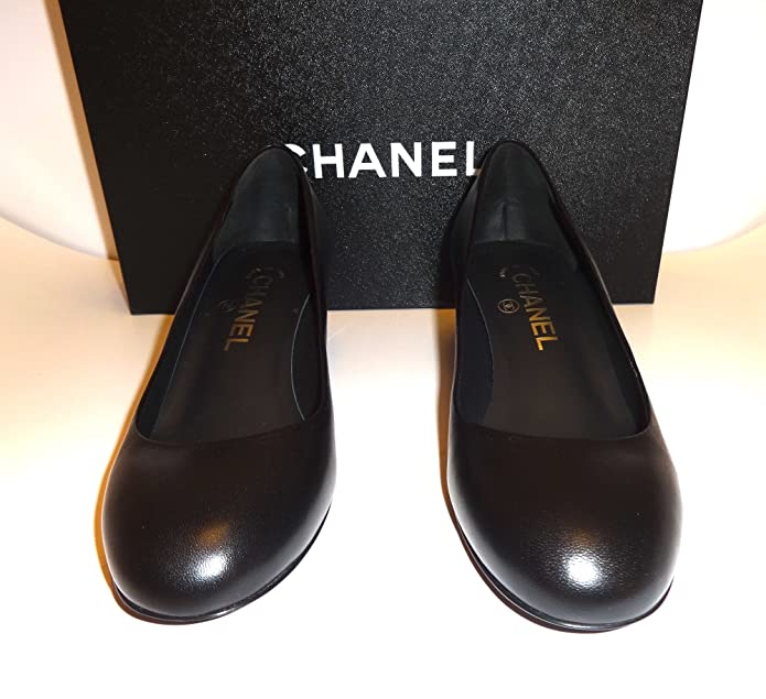 Amazon.com | CHANEL-Black Leather Pumps with Square Heel SIZE-37 (37, Black) | Pumps