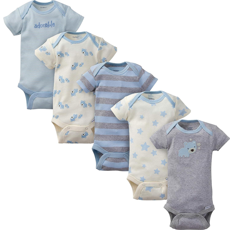 Gerber Baby Boys 5-Pack Organic Short Sleeve Onesies Bodysuits