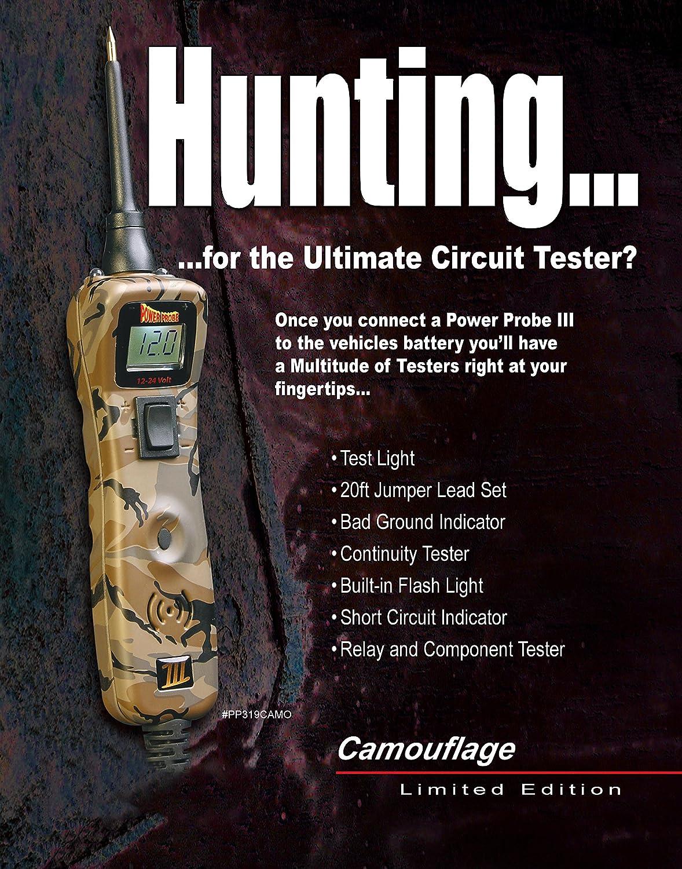 Power Probe Iii W Case Acc Camo Pp319camo Car 12 24 Volt Circuit Tester Test Light Check Auto Circuits Trailer Automotive Diagnostic Tool Digital Meter Ac Dc Current Resistance