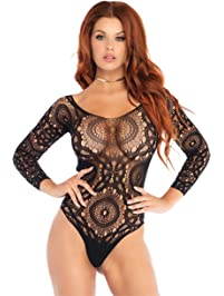 Leg Avenue Women's Crochet Lace Long Sleeved Snap Crotch Thong Back Teddy