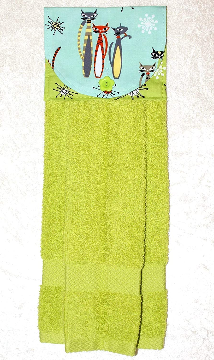 Mod Cats On Aqua /& Green Starburst Accent Fabric Plush Green Kitchen Towel Hanging Hand Towel