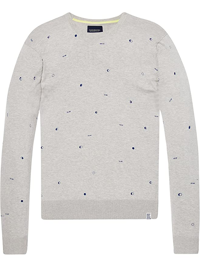 Scotch&Soda AMS Blauw Allover Printed Crewneck Knit in Regular Fit, Pull Homme, (Combo D 20), Large