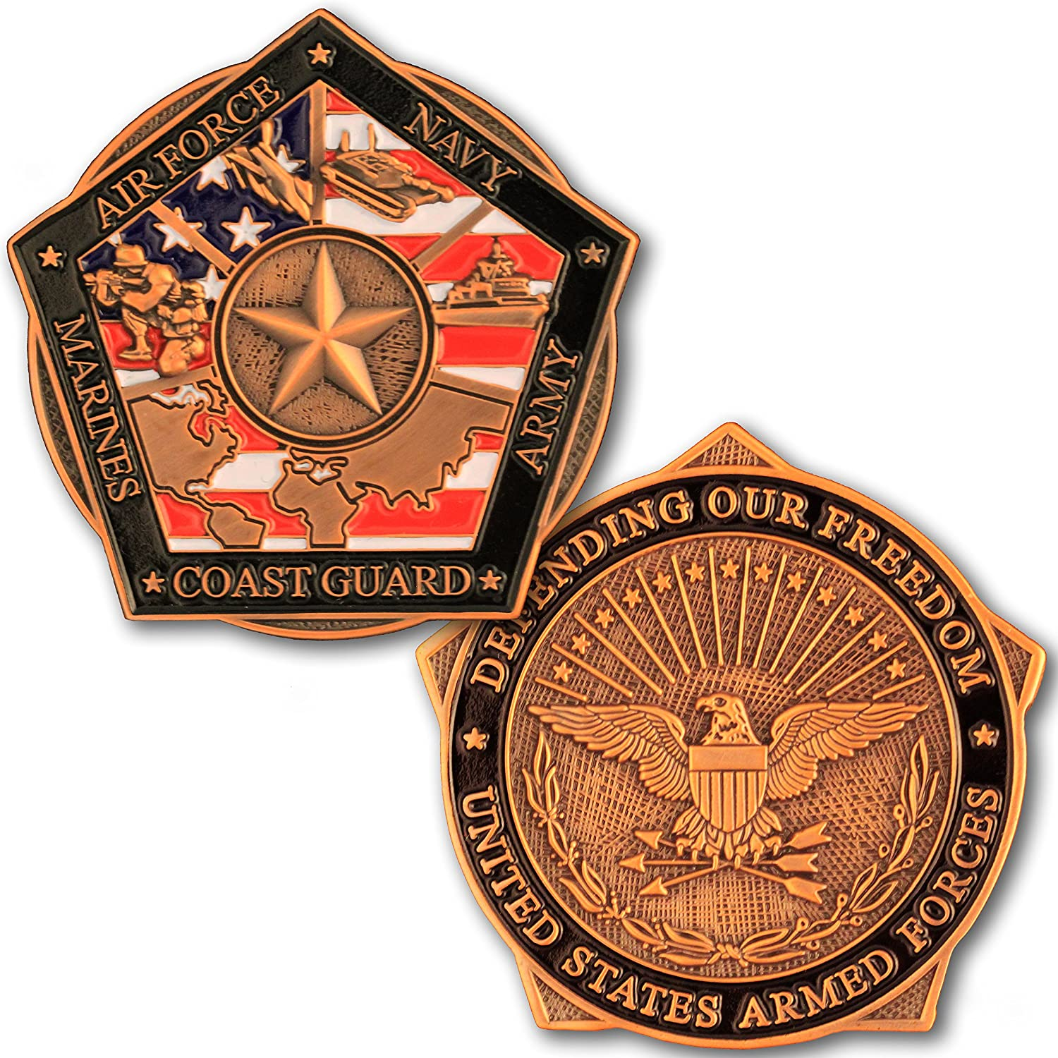 Armed Forces Honor Troops Challenge Coin, Military Support Coin. Die Struck Brass Challenge Coin Designed by Military Veterans! Marines Corps, Navy, Army, Air Force, Coast Guard Challenge Coin! Coins For Anything Inc