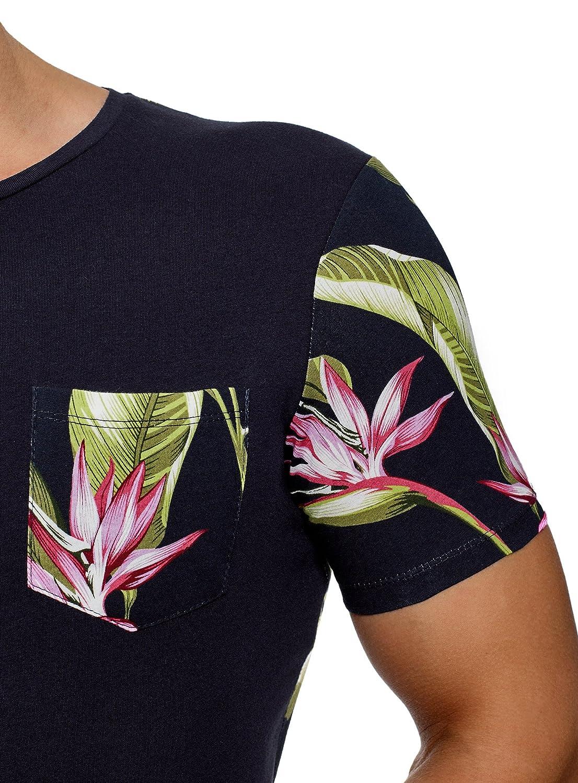 oodji Ultra Hombre Camiseta Combinada con Bolsillo en el Pecho