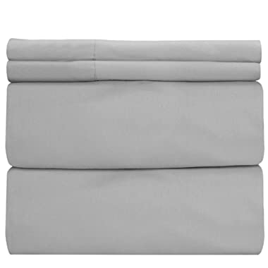 COT PRINTS 400 Thread Count 100% Cotton Sheet Set, Queen Sheets Set, 4-Piece Long-Staple Combed Cotton Sheets, Bedsheet Set, Breathable Soft, Silky Sateen Weave, 14  deep Pocket (Grey)