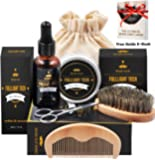 Beard Grooming & Trimming Kit for Men Beard Growth Gift Set w/ Unscented Balm,Beard Softening Oil Conditioner,Beard Bristle Brush + Comb + Mustache Scissors for Styling & Beard Trimmer Kit