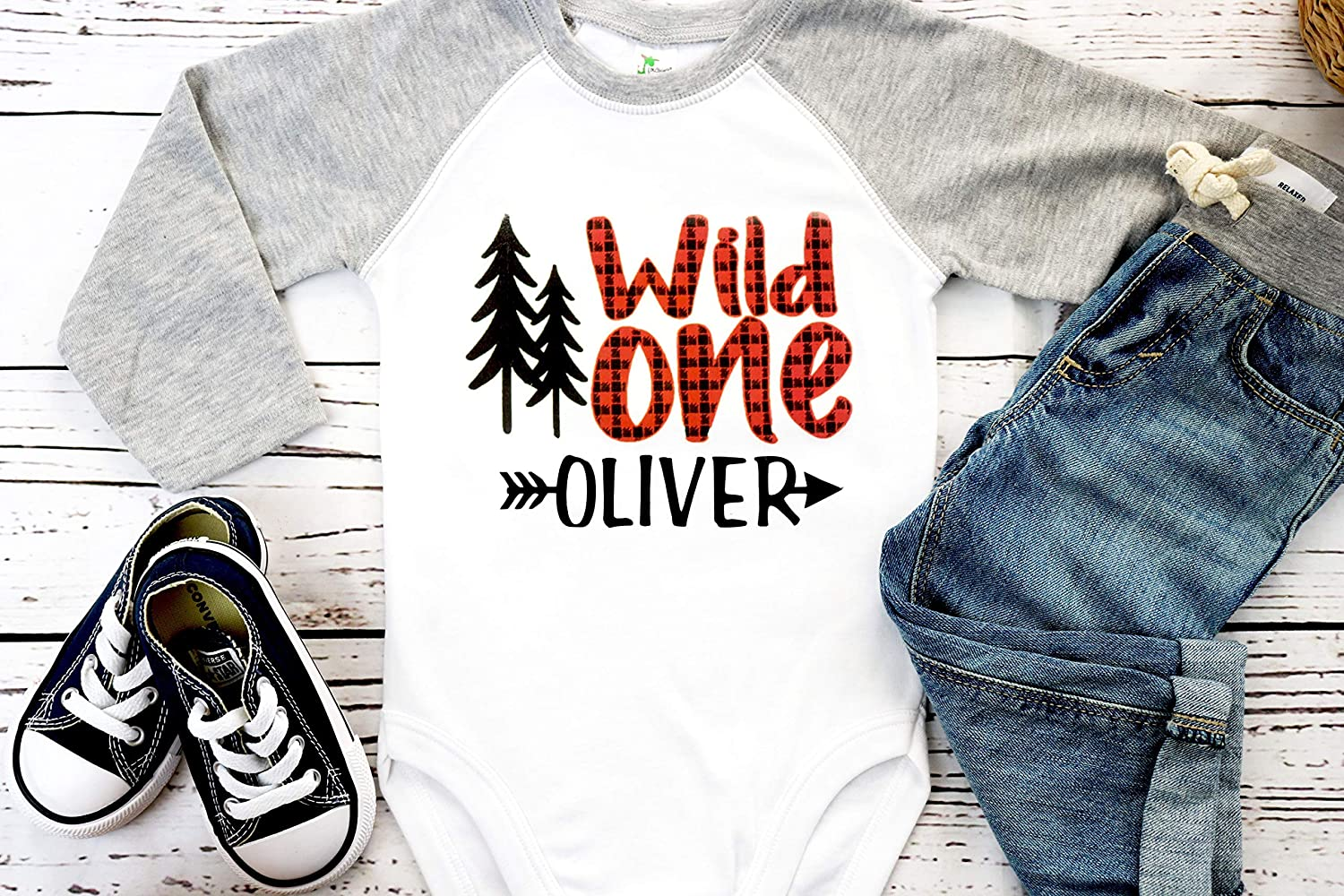 wild one bodysuit first birthday shirt lumber jack birthday shirt Lumberjack birthday bear shirt buffalo plaid birthday shirt deer antlers boys birthday shirt 1st birthday shirt