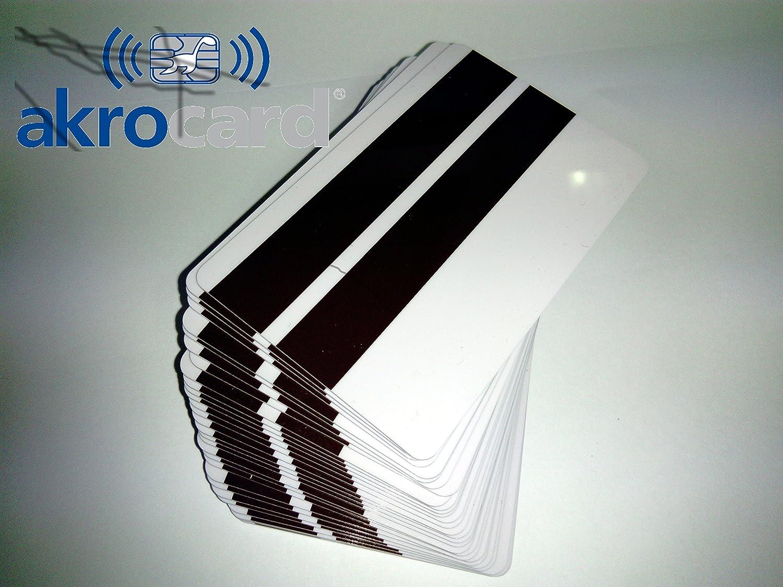 100/Tessere PVC bianche con banda magnetica superiore Hi-Co e Lo-Co centrale