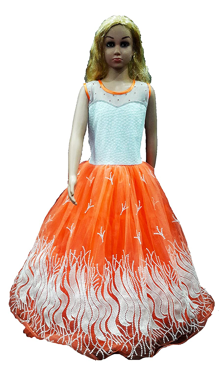Purple Princess Girls orange gown for age 9 to 17 Years: Amazon.in ...