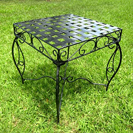 Iron Side Table   Lattice (Black Pewter) (22u0026quot;H X 20u0026quot;