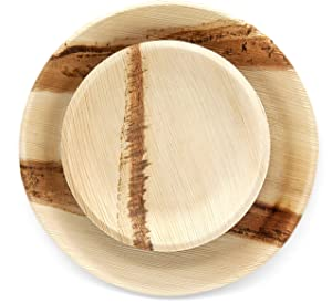 Conscience Concepts Event Set (50 count) Areca Palm Plates - 25 10-inch Round Dinner Plates with 25 7-inch Round Appetizer Plates. Eco-friendly Bamboo Wood Style, Compostable and Sturdy Party Dishes.