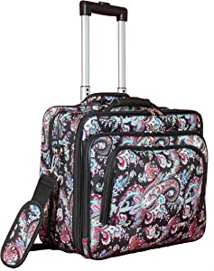 "World Traveler Women's Fashion Print Rolling 17"" Laptop Case-Paisley, One Size"