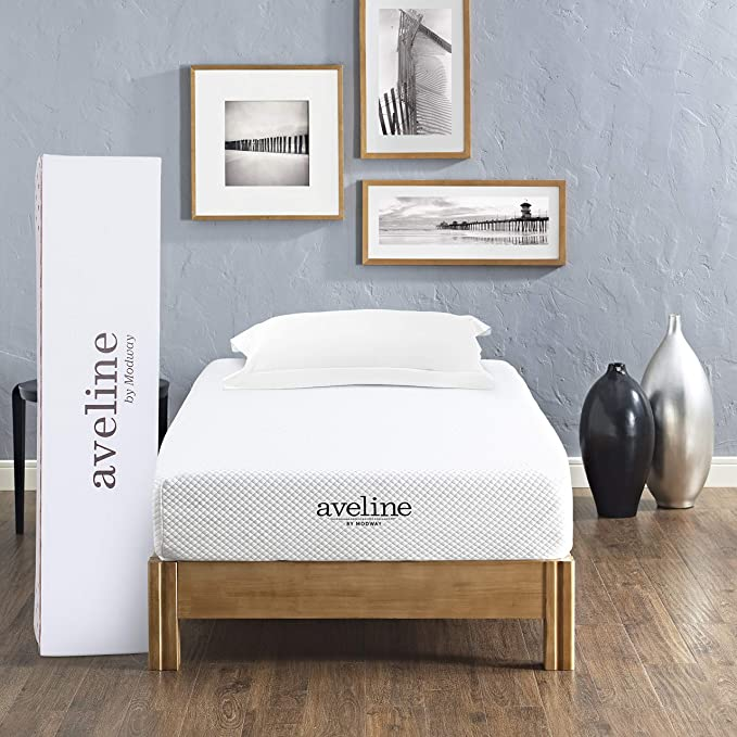 "Modway Aveline 8"" Gel Memory Foam Mattress - Pressure-Relieving and Cooling"