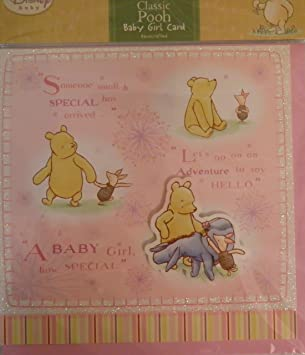 Classic winnie the pooh baby arrival greeting card pink baby girl classic winnie the pooh baby arrival greeting card pink baby girl m4hsunfo