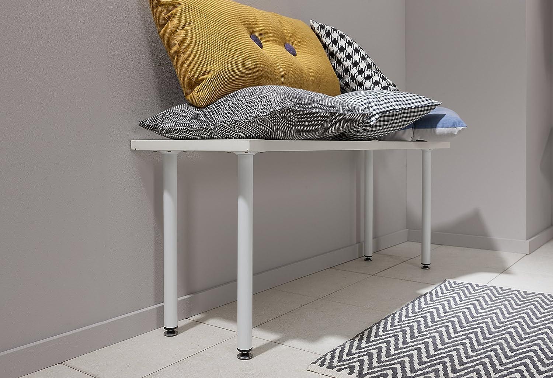 Element System Pieds en tube dacier ronds pour tables et meubles avec plaque de vissage 11100-00090 lot de 4 pieds