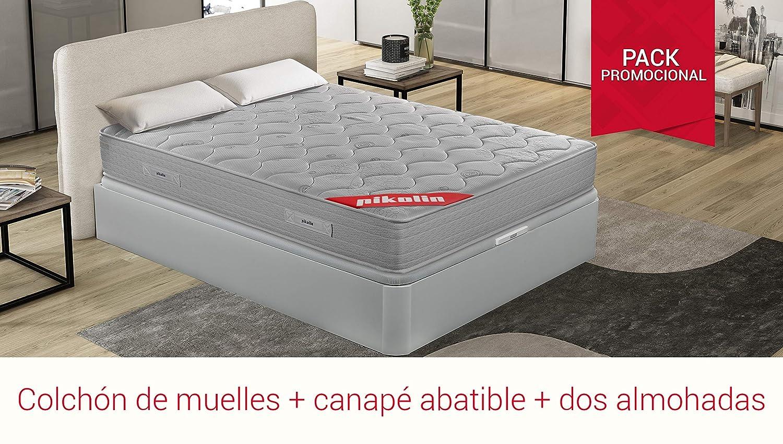 PIKOLIN Pack Colchón viscoelástico de muelles 150x190+ canapé con Base abatible en Madera y Dos Almohadas visco: Amazon.es: Hogar