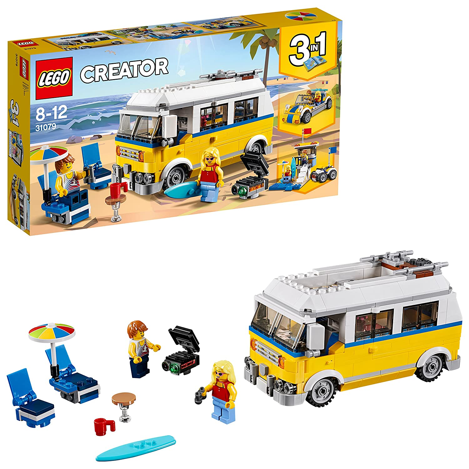 LEGO 31079 CREATOR Sunshine Surfer Van, Beachy Buggy, Lifeguard Tower Roof 3 in 1 Model, Toy Car for Kids
