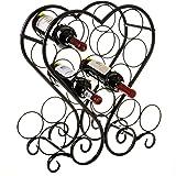 12-Bottle Metal Heart-Shaped Countertop Wine Rack Holder with Scrollwork Design