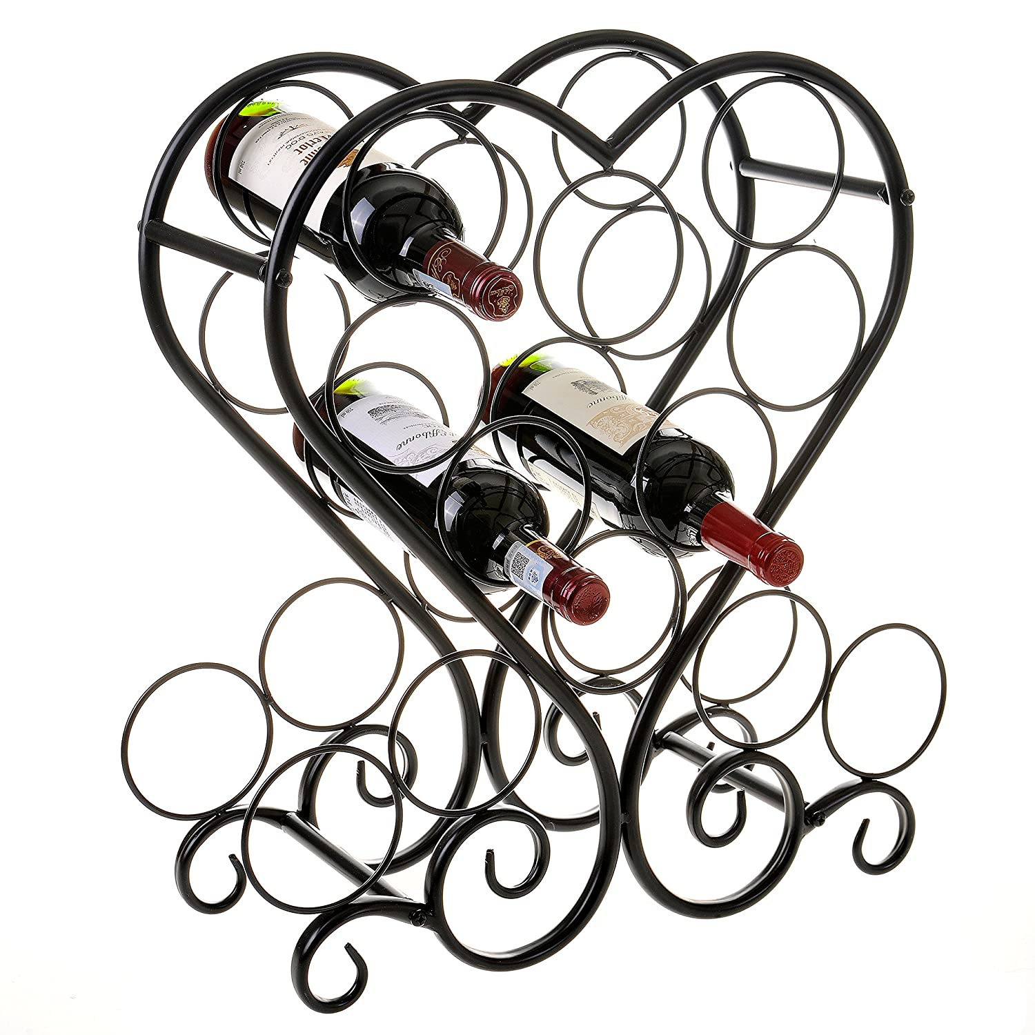 12-Bottle Metal Heart-Shaped Countertop Wine Rack Holder with Scrollwork Design MyGift
