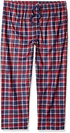 15955d6dc1cf3 Fruit of the Loom Men's Microfleece Sleep Pant, Navy red/Grey Plaid, Medium