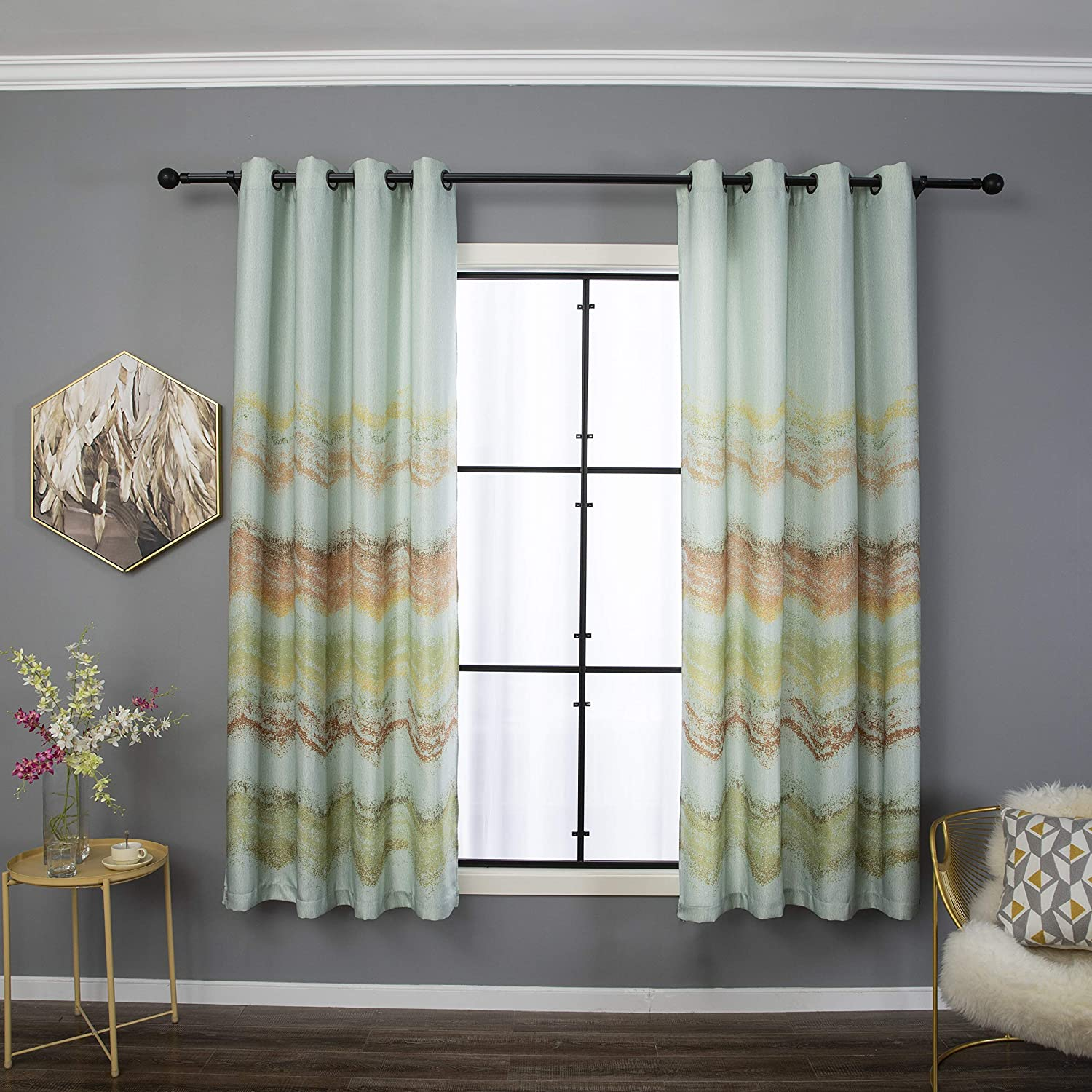 Taisier Home Watercolor Rainbow Windows Curtains Room Darkening Colorful Nature Abstract Art Crayon Gradient for Living Room Bedroom Window Drapes Printed(2 Panels 52 x 84 Inch,Sky Blue
