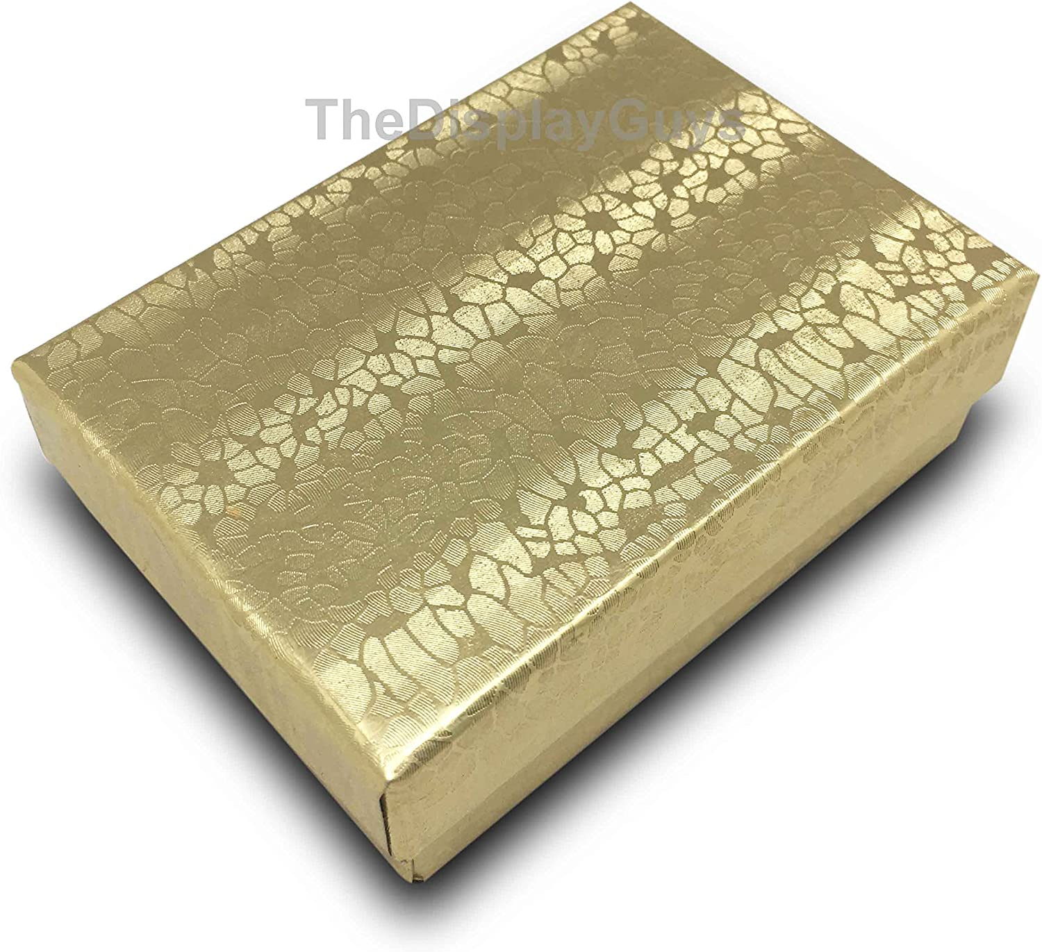 Cotton Filled Gold Embossed Jewelry Boxes