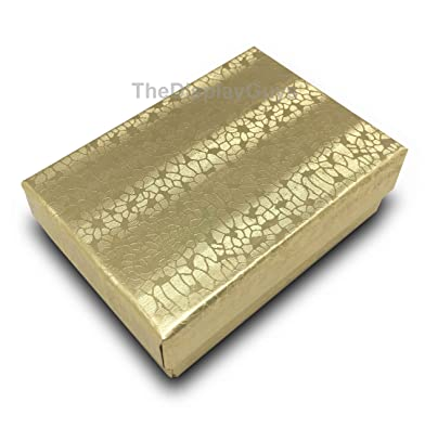 Amazoncom 100 Gold Cotton Filled Jewelry Display Gift Boxes 3x2