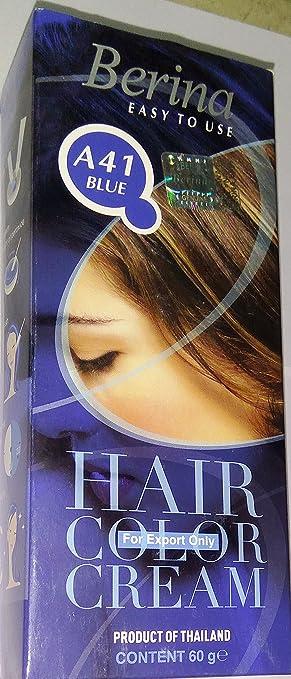 Amazon.com : Berina Permanent Hair Dye Blue Color Cream A41 Free ...