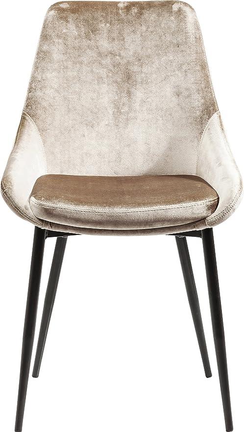 Kare Design Stuhl East Side Polsterstuhl In Samtstoff Esszimmerstuhl Edler Designstuhl Einzeln Beige Hxbxt 83x48x57cm