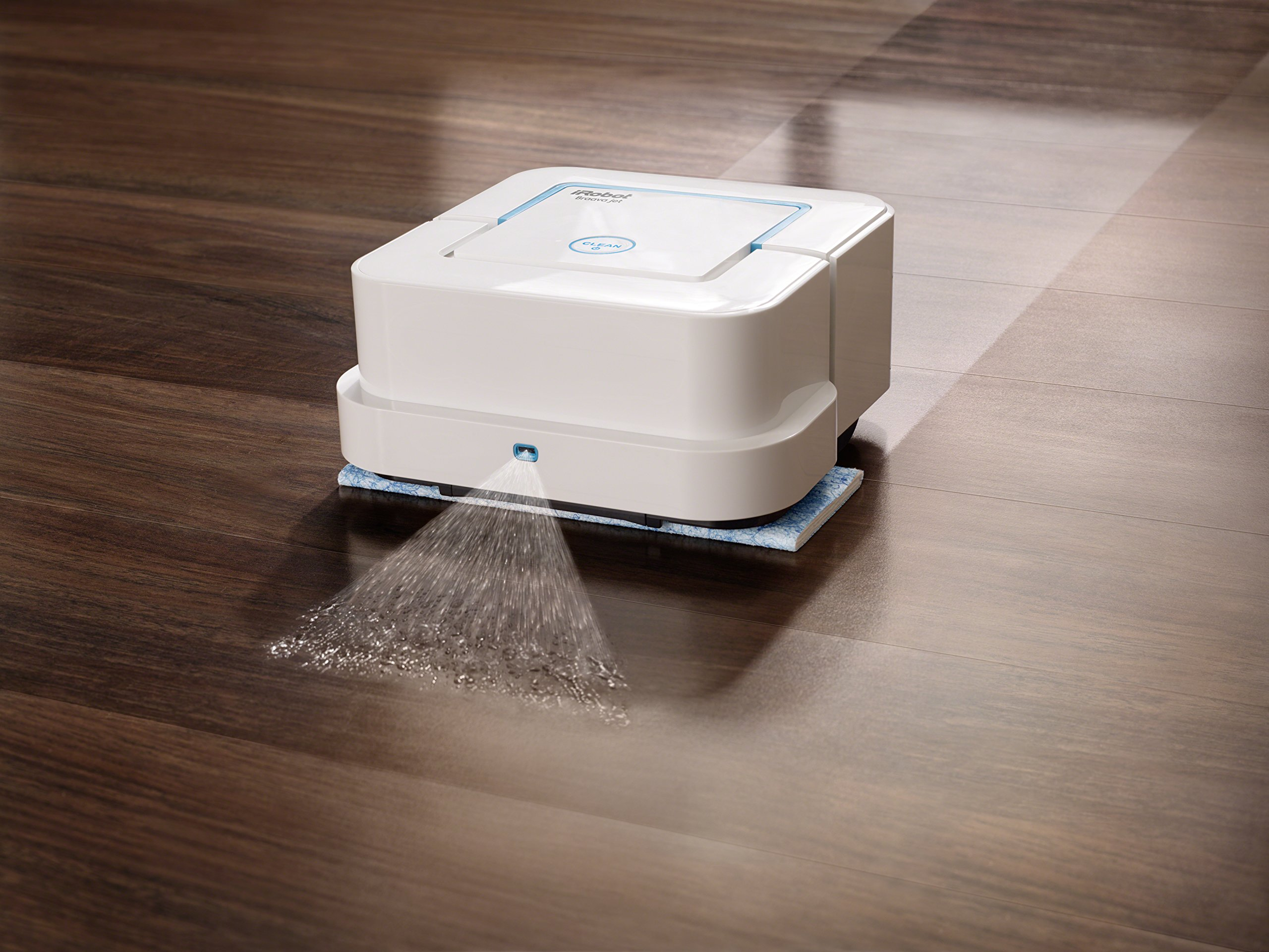 iRobot Braava jet  Robot Mop 3 Mops and sweeps hard floors including hardwood, tile, and stone in kitchens, bathrooms, and other small spaces Gets into hard-to-reach places, including under and around toilets, into corners, and below cabinets Precision Jet Spray and Vibrating Cleaning Head tackle dirt and stains such as dried coffee and soda