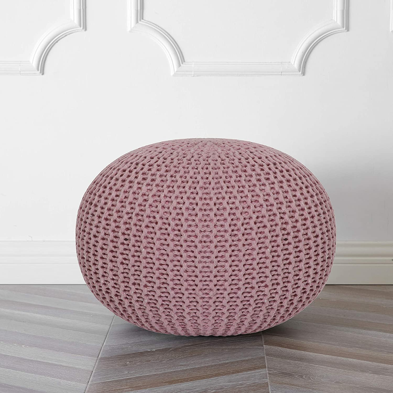 Urban Shop Round Knit Pouf, Light Pink