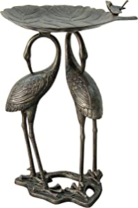 Innova C87571 Heron Lily Bird Bath, Aged Bronze