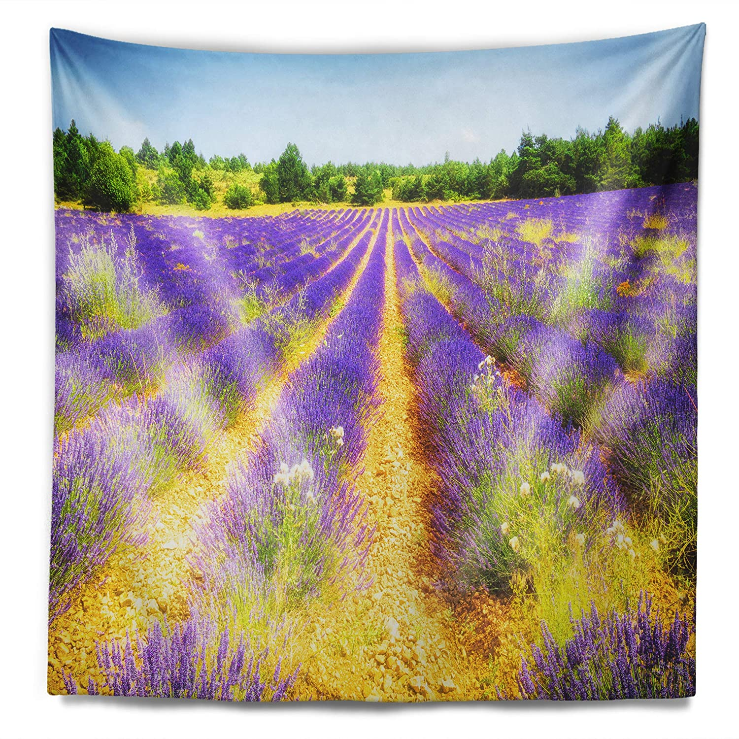 x 39 in Designart TAP13073-32-39  Fantastic Lavender Field of France Floral Blanket D/écor Art for Home and Office Wall Tapestry Medium Created On Lightweight Polyester Fabric 32 in