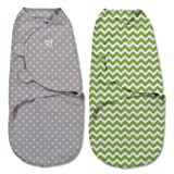 SwaddleMe Original Swaddle (Small, Green Zig Zag and Grey Dot, Pack of 2)