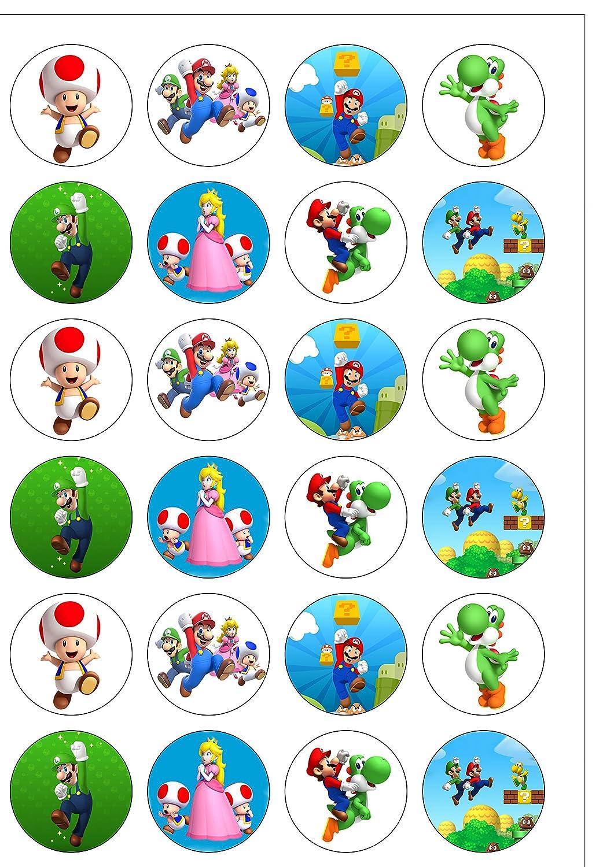 24 adornos precortados de Super Mario Bros, comestibles de ...