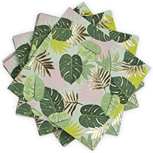 Cakewalk (Party) Monstera Dinner Cakewalk Disposable Napkins, 1, Multicolor