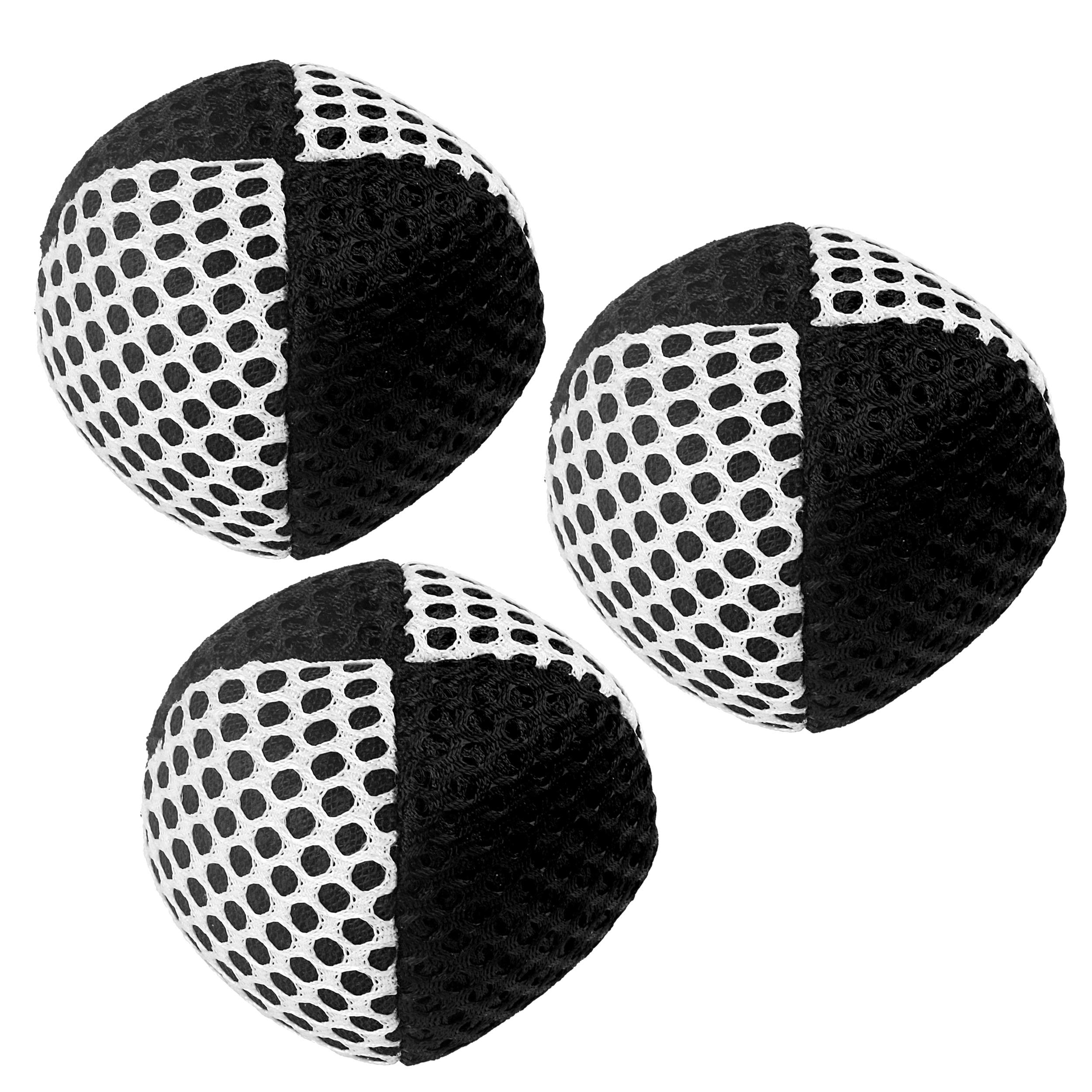 Speevers Xballs Juggling Balls Professional Set of 3 Fresh Design 3.9 Oz Each - 10 Beautiful Colors Available - 2 Layers of Net Carry Case - Choice of The World Champions! 110g (Black - White)