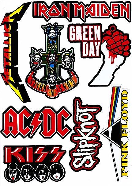 8 pieces sticker new ac dc guns n roses green day iron maiden kiss metallica pink