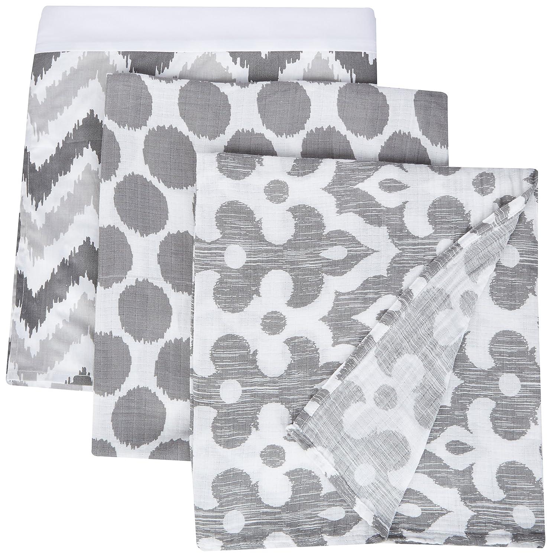 Bacati Ikat White/Grey 4 Piece Crib Set with 2 Muslin Blankets BIZGD4N